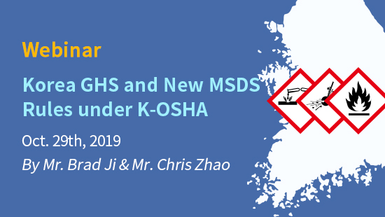 Korea GHS and New MSDS Rules under K-OSHA